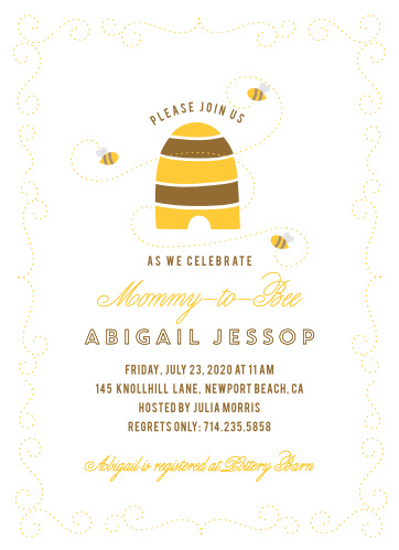 Friendly bees buzz all around the Honey Bee Baby Shower Invitations.