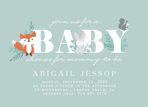 Baby shower invitations 40 off super cute designs basic invite friendly forest baby shower invitations filmwisefo Image collections
