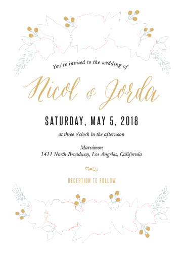 Watercolor Floral Foil is as welcoming as you are: with soft watercolor flowers surrounding a graceful, easy-to-read typeface, this invitation is sure to catch your guests' attention.