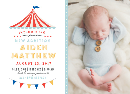 Introduce the newest attraction of your circus family with the Big Top Birth Announcements.