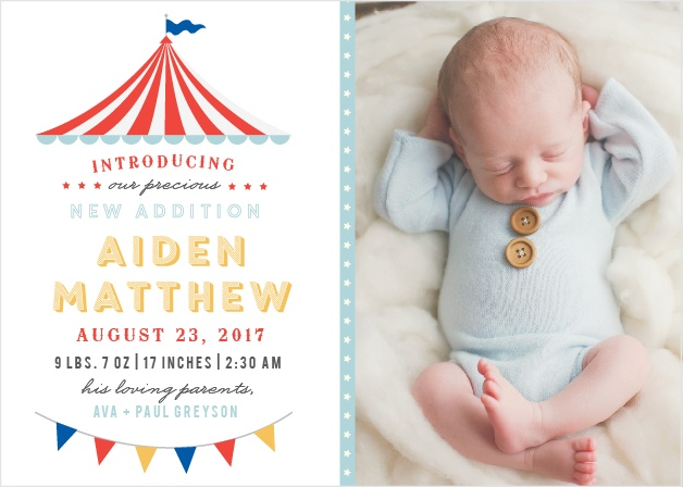 Big Top Birth Announcements