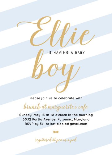 Invite your guests to your precious one's baby shower using the Stunning Stripes Foil Baby Shower Invitation Card.