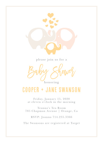 Invite your guests to celebrate the mother-to-be with the Baby Elephant Baby Shower Invitation.