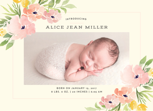 Show off your little one with the Pretty Poppies Birth Announcement.