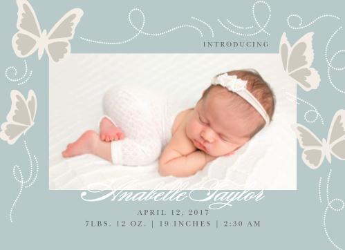 Present your newborn to your family and friends with the Beauteous Butterflies Birth Announcement.