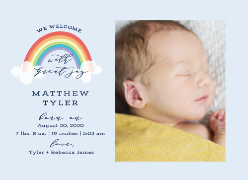 rainbow birth announcements match your color style free