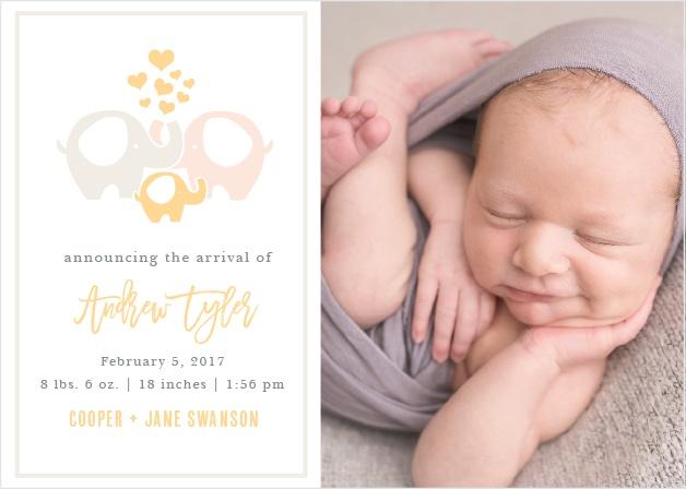Baby Elephant Birth Announcements