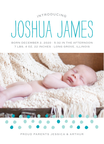 Dots speckle the bottom of your child's photo on the Painted Dots Birth Announcements.