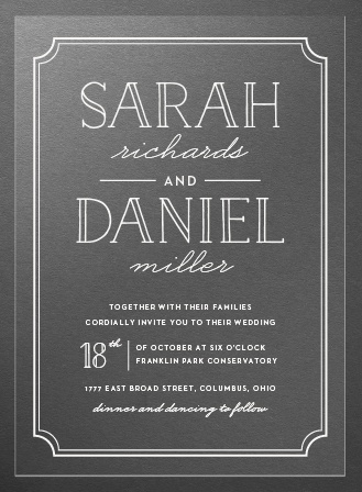 Type Frame Clear Wedding Invitations
