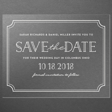 Type Frame Clear Save-the-Date Cards