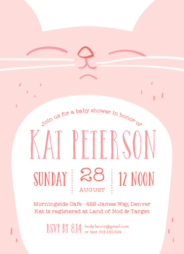 Design invites for the cat loving mom-to-be with the Kitty Kat Baby Shower Invitations.