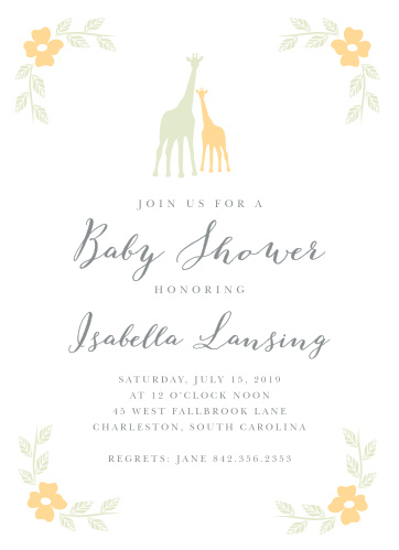 Sweet flowers accent the corners of the Delicate Giraffe Baby Shower Invitations.