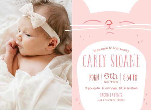 Welcome your newborn with the Kitty Kat Birth Announcements.
