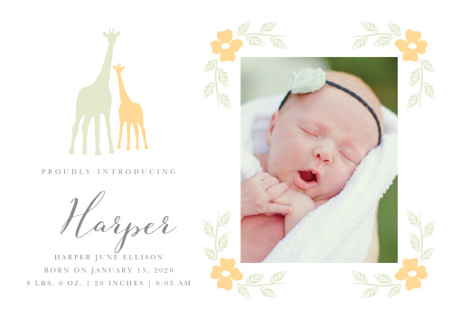 Sweet flowers frame your newborn's photo on the Delicate Giraffe Birth Announcements.