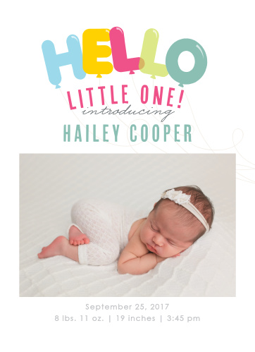 Share your new bundle of joy with the colorful design of the Bubble Balloons Birth Announcements.