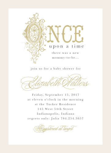 Invite friends and family to celebrate the new addition to your happily ever after with the Once Upon A Time Baby Shower Invitations.