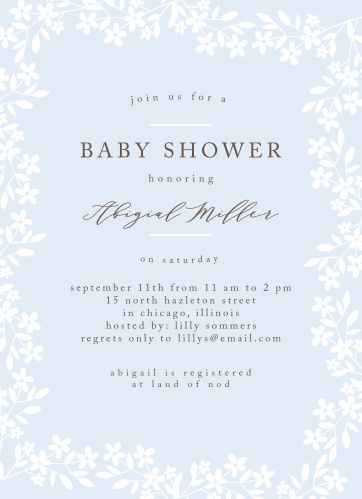 Spring florals encircle your text on the Flower Garden Baby Shower Invitations.