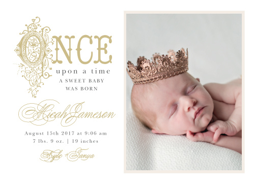 Announce your new little royalty with the ornate storybook lettering of the Once Upon A Time Birth Announcements.