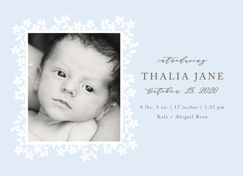 Frame your newborn's photo with the spring florals of the Flower Garden Birth Announcements.
