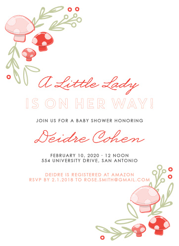Announce a little one is on their way with the Mushroom Forest Baby Shower Invitations.