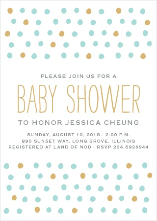 Painted Dots Foil Baby Shower Invitations
