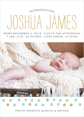 Painted Dots Foil Birth Announcements