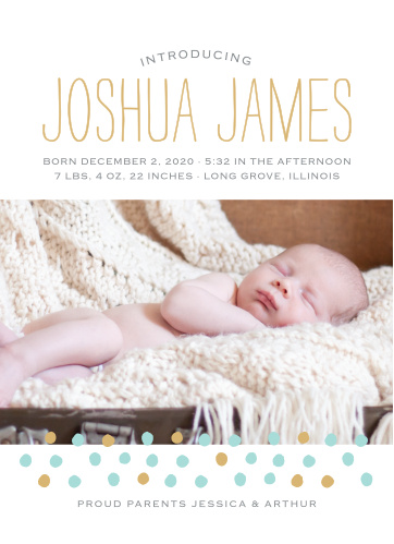 Foil Dots speckle the bottom of your child's photo on the Painted Dots Birth Announcements.