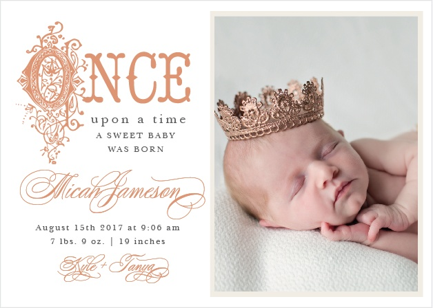 Once Upon A Time Foil Birth Announcements