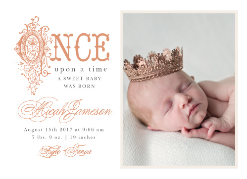 Announce your new little royalty with the ornate storybook lettering of the Once Upon A Time Foil Birth Announcements.