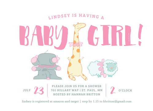 Tutu wearing animals dance on the At the Zoo Baby Shower Invitations.