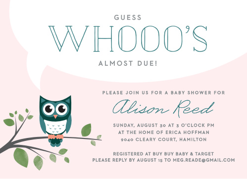 "Announce ""Whoo's"" almost due with the Night Owl Baby Shower Invitations."