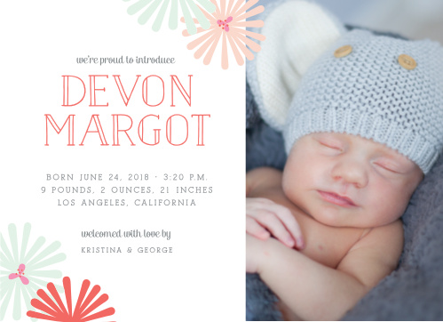 Accent your newborn's photo with the retro flowers of the Spring Blooms Birth Announcements.