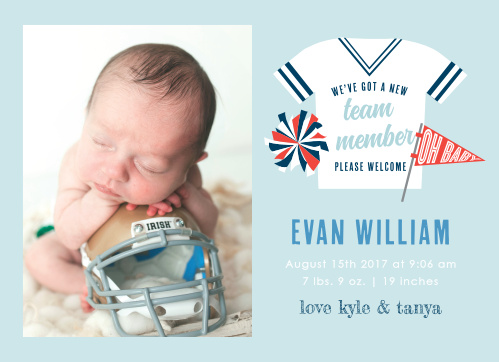 Introduce your newest team member with the Go Team Birth Announcements.