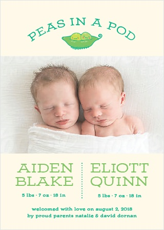 Peas in a Pod Birth Announcements