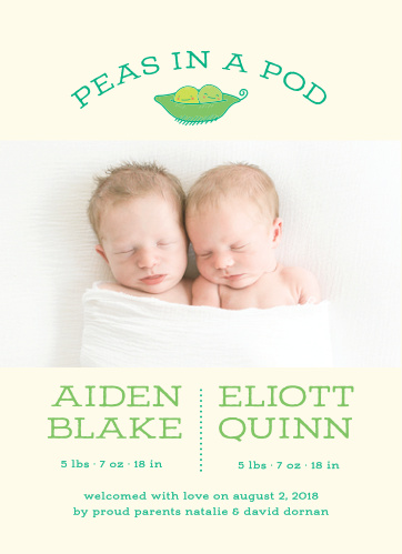 Introduce your two new bundles of joy with the Peas in a Pod Birth Announcements.