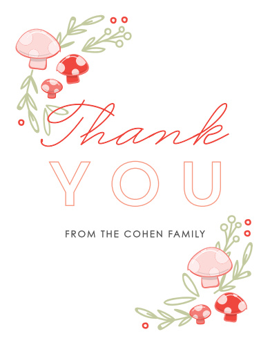 Frame your gratitude with the whimsical greenery of the Mushroom Forest Baby Shower Thank You Cards.