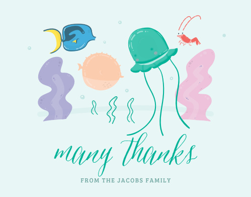Sea life thrives on the Fish Frenzy Thank You Cards.