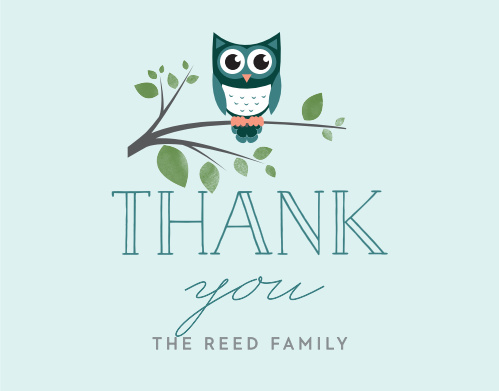 Thank friends and family for their gifts and well wishes with the Night Owl Thank You Cards.