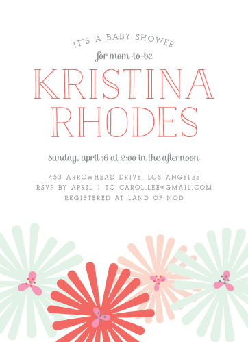 Retro-style flowers dance at the bottom of the Spring Blooms Baby Shower Invitations.