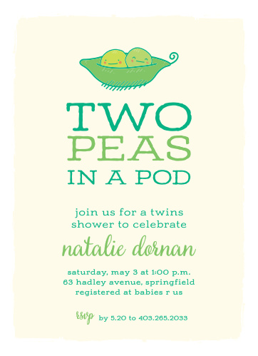 Peas In A Pod Baby Shower Invitations
