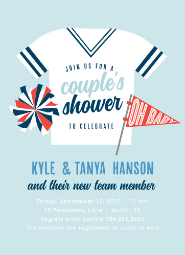 Invite friends and family to welcome the newest member of your team with the Go Team Baby Shower Invitations.