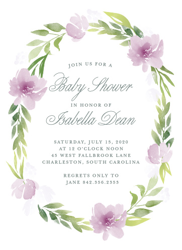 A ring of watercolor flowers and greenery surrounds your text on the Floral Delight Baby Shower Invitations.