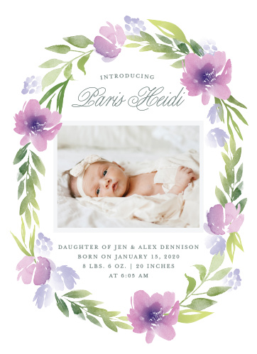 Surround your child with the watercolor flowers and greenery of the Floral Delight Baby Announcements.