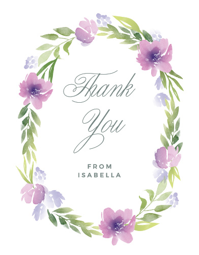Encircle your gratitude with a ring of watercolor flowers and greenery using the Floral Delight Baby Shower Thank You Cards.