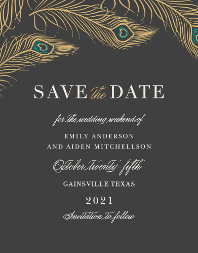 Announce your wedding luxuriously with the Peacock Feather Foil Save-the-Date Cards.