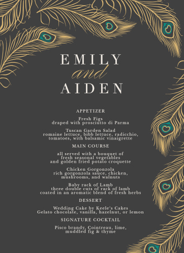 Floating feathers create a luxurious frame on the Peacock Feather Foil Menus.