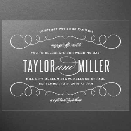 Swirl Frame Clear Wedding Invitations
