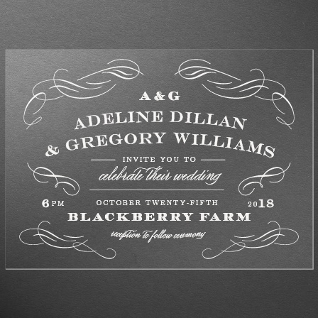 Scrolled Frame Clear Wedding Invitations