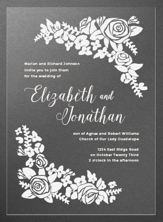 Corner Wreath Clear Wedding Invitations