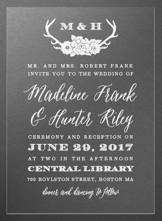 Blooming Antlers Clear Wedding Invitations